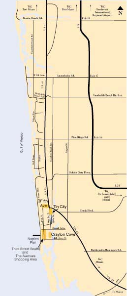 Downtown Naples Locator Map